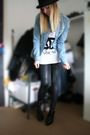 Blue-zara-blouse-black-h-m-leggings-black-second-hand-hat-black-h-m-shoes-