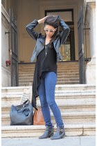 black asos boots - skinny jeans H&M jeans - leather vintage jacket - clubmaster