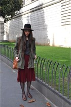 fedora vintage hat - parka H&M jacket - leather vintage bag - bleached H&M t-shi