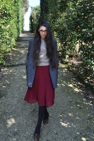 wool Topshop coat - cotton vintage shirt - wool Zara jumper - Topshop skirt - le