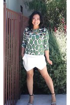 white origami skort Zara shorts - green Topshop sweatshirt