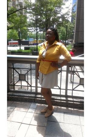 mustard NY&CO shirt - wrap dress H&M dress - calvin klein belt