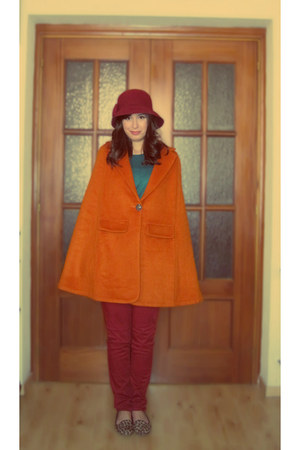 orange romwe cape - maroon Parfois hat - turquoise blue H&M jumper