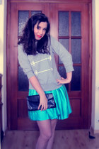 turquoise blue H&M skirt - heather gray Primark sweater - black vintage bag