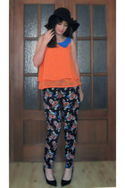 black Parfois hat - orange Chicwish blouse - black Primark pants