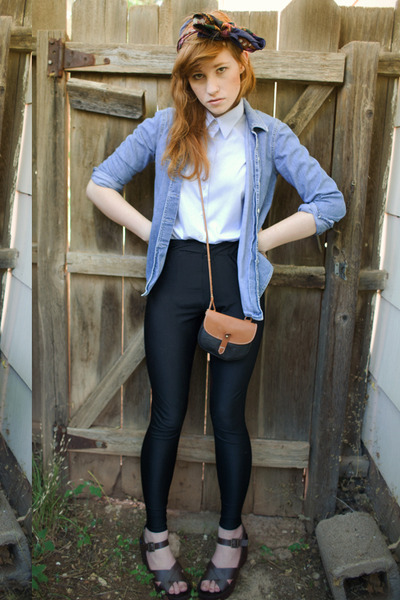 blue ann taylor blouse - black vintage pants - brown No Boundaries shoes - brown