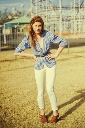 brown ankle boots vintage boots - blue vintage blazer