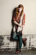 brown vintage Eddie Bauer boots - orange vintage Ralph Lauren shirt - green gift