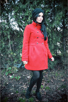 red H&M coat - black Zara shoes - black Accessorize socks