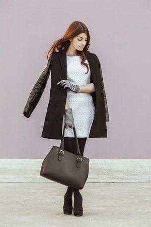 Milly NY dress - Sheinside coat - benetton bag - Enrico Lugani heels