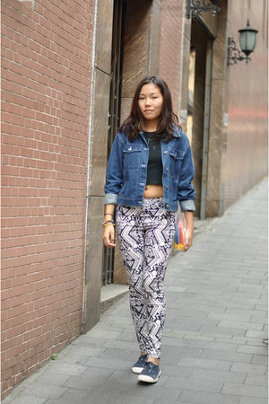 H&M ring - denim jacket AgnesB jacket - printed pants H&M pants