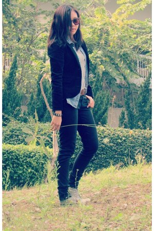 black corduroy blazer H&M blazer - black skinny jeans Zara jeans