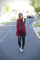 red scarf Forever 21 scarf - silver creepers new look shoes