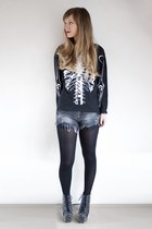 ribs romwe jumper - all over spike Jeffrey Campbell heels