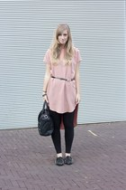 duffle bag Ebay bag - pink asos dress - spiked loafers Sheinside flats