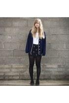 blue asos cardigan - creepers Underground flats - cross print Bershka skirt