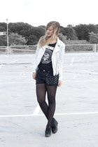 metallic Zara jacket - studs DIY shorts - creeper wedges Underground heels