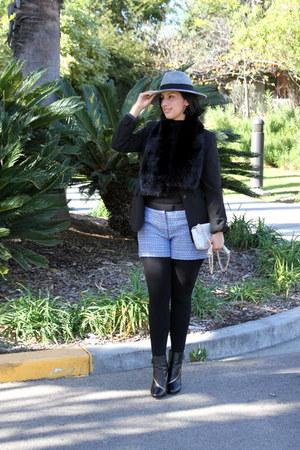 black Diane Von Furstenberg boots - blue H&M shorts - black ann taylor top