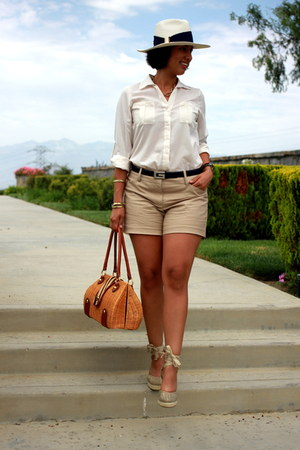 ivory calvin klein hat - dark khaki ann taylor shorts - off white MINE blouse