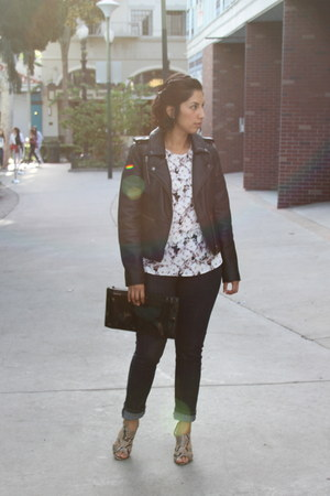 navy Express jeans - black American Eagle jacket - silver Nine West heels