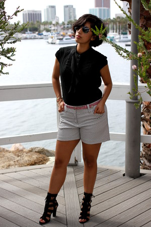 black Express blouse - white ann taylor shorts - black calvin klein heels