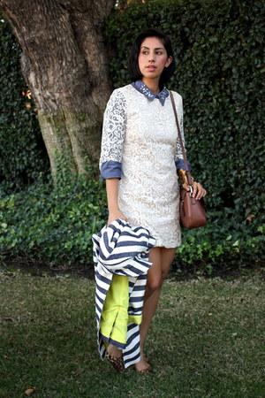 off white H&M dress - navy merona coat - sky blue ann taylor shirt