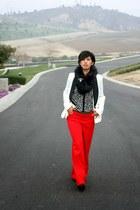 white Forever 21 jacket - red Express pants - black Nine West heels