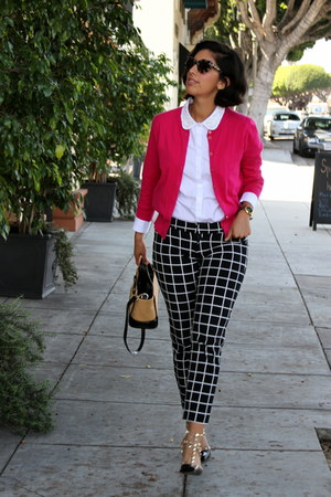 black Old Navy pants - tan kate spade bag - white ann taylor blouse