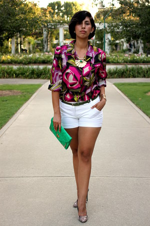 hot pink Missoni blouse - white Kenar shorts