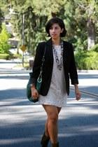 dark green franco sarto boots - ivory H&M dress - black Ellen Tracy blazer