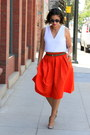 Carrot-orange-new-york-company-skirt-white-zara-top