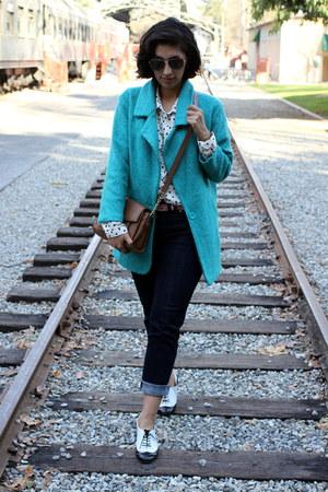 navy Levis jeans - bronze Michael Kors bag - white Kut top