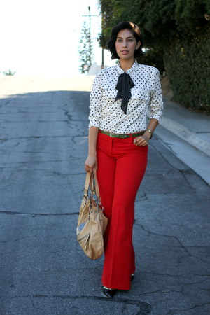 black Kut shirt - ruby red Express pants
