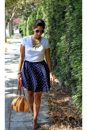navy H&M skirt - ivory grace top