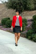 black Max Studio skirt - ruby red cielo cardigan - black liz claiborne top