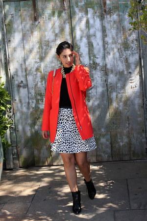 black ALTUZARRA boots - carrot orange Dalia coat - black ann taylor top