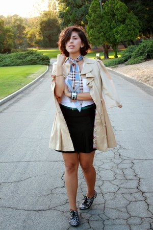 beige Forever 21 coat - light blue Burbe scarf - black Target skirt