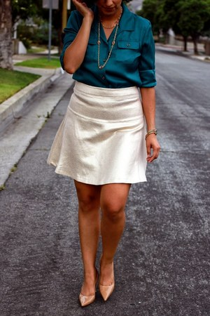 beige new york and co skirt - teal Jones New York blouse
