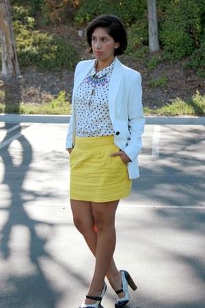 yellow Forever 21 skirt - white narciso rodriguez blazer