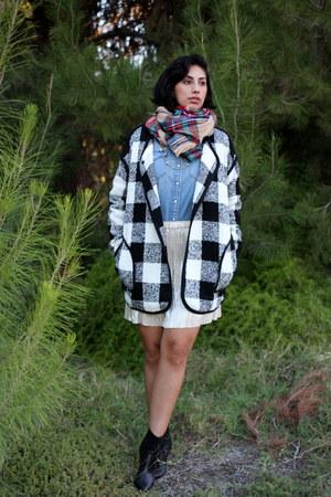 black Joa coat - red merona scarf - sky blue Levis top