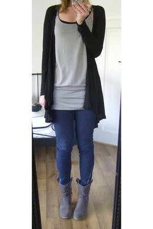 gray united colors of benetton top - black Zara cardigan - blue Vila leggings -