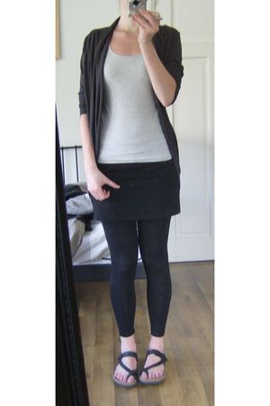 silver h&m divided top - gray Hema cardigan - black H&M skirt - black Birkis bir