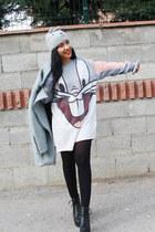 silver knit Accessorize hat - Lovelyshoesnet boots - Sheinsidecom dress - coat