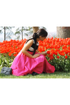 hot pink Bershka shoes - hot pink choiescom dress - white Zara coat