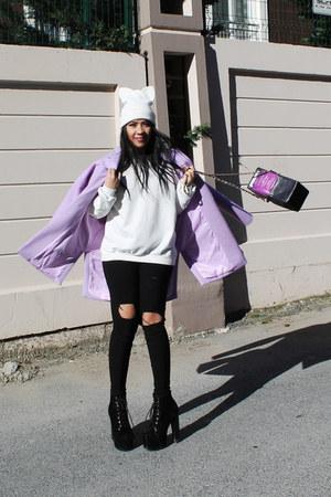 light purple Sheinsidecom coat - black Choies jeans - white Zara hat