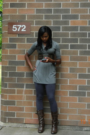 Base Exchange boots - heather gray Forever 21 dress - gray Wet Seal tights - dar