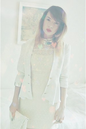 ivory lace pull&bear dress - white DOTS jacket - ivory Stradivarius bag