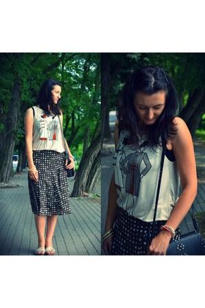 Mango blouse - Mango bag - reserved skirt - TK Maxx flats - handmade bracelet