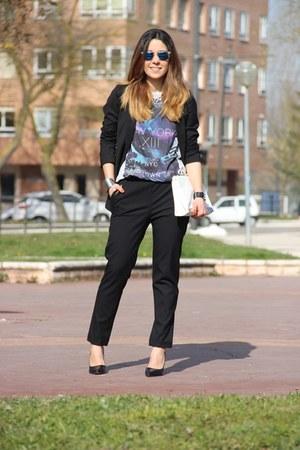 Zara bag - 80s Purple sunglasses - Zara heels - Primark Man t-shirt