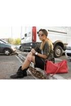 Zara boots - Zara bag - H&M skirt